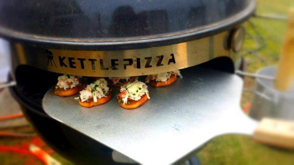 Mini-Bruschetta Pizzas on a KettlePizza? You Got It!